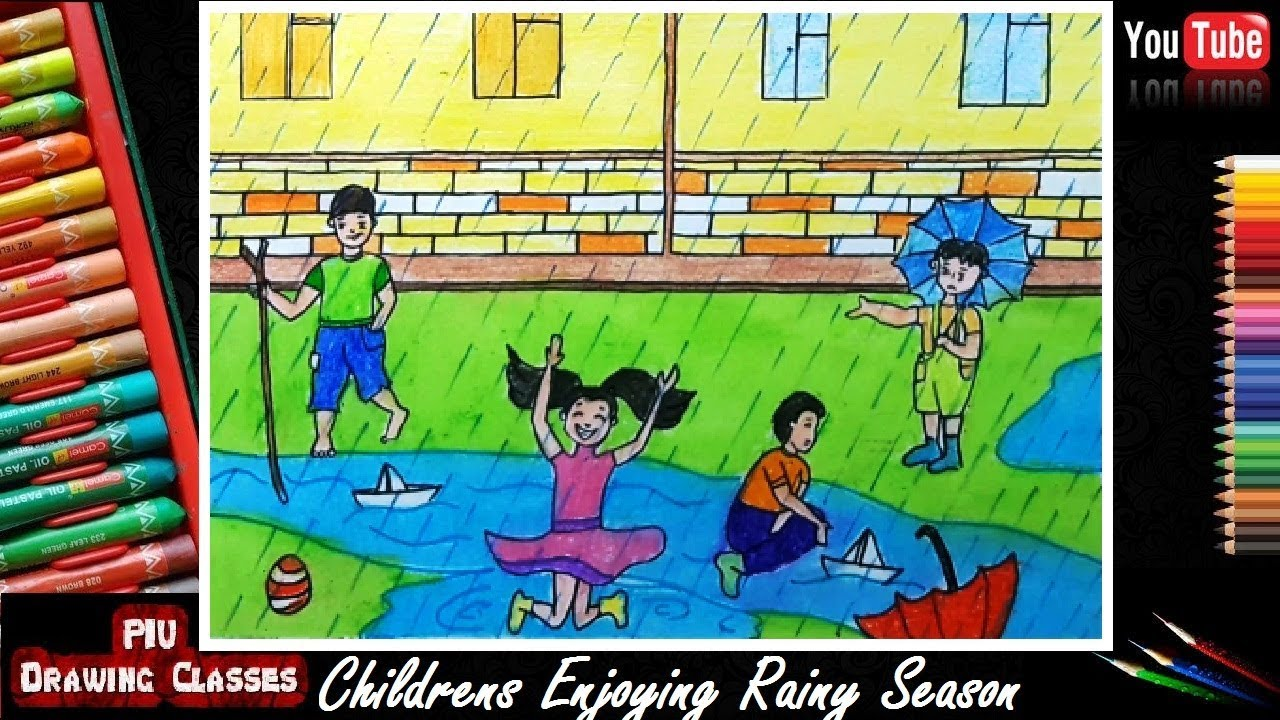How To Draw Childrens Sailing Paper Boats In Rainy Season Scenery Drawing I Memory Drawing For Kids