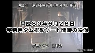 【平成30年6月28日】宇奈月ダム排砂ゲート開時の映像