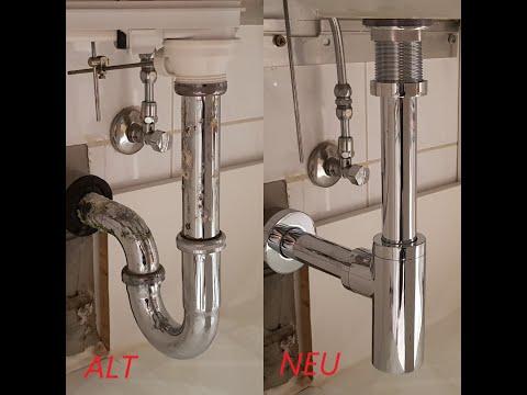 Ablauf und Siphon am Waschbecken tauschen. Swap drain and siphon at sink.