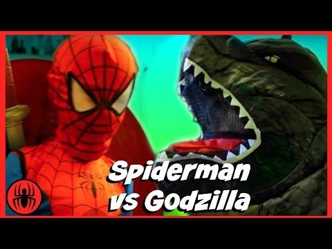 Spiderman vs Godzilla w Pink Girlpool, monkey king, Left Shark fun in real life comics SuperHeroKids