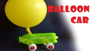 How to make A balloon car  with a water bottle. easy homemade balloon car