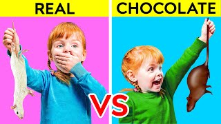 REAL VS CHOCOLATE FOOD || Funny Sweet Prank by 123 GO! KIDS
