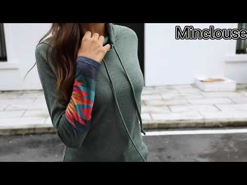 Minclouse Womens Cowl Neck Long Sleeves Tunic Tops Aztec Printed Casual Sweatshirts Cute Patchwork Blouse Pullover