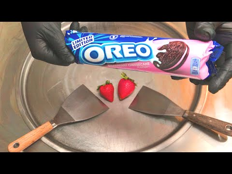Oreo Strawberry Cheesecake - Ice Cream Rolls | Fried Thai rolled ice cream roll with Oreo Cookies