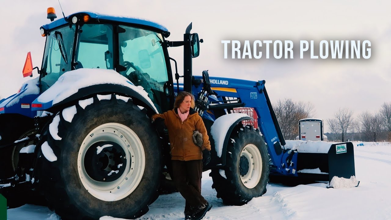 Farm Girl Plowing Snow Winter Storm Polar Vortex With New Holland