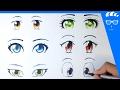 طريقة رسم 6 عيون انمي (مانجا) للمبتدئين (عيون بنات)