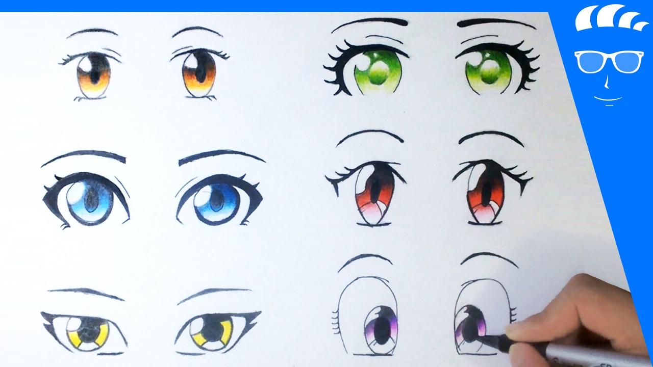 طريقة رسم 6 عيون انمي مانجا للمبتدئين عيون بنات Youtube