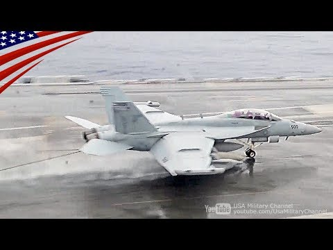 F/A-18 Carrier Launch & Land In The Rain