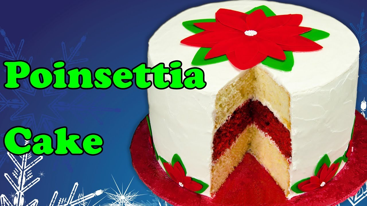 Poinsettia christmas cake with icing sheet flower for Fomic sheet decoration youtube