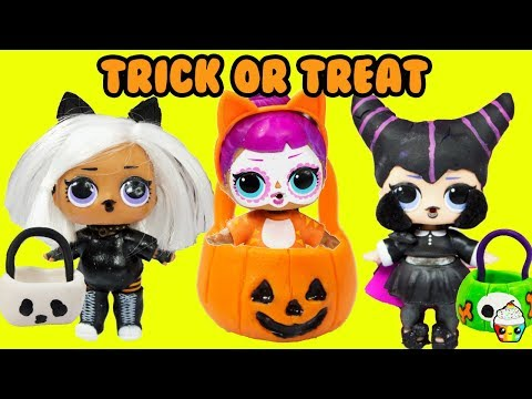 lol-surprise-dolls-trick-or-treat-lil-sister,-big-sisters,-brothers,-omg-halloween-costumes