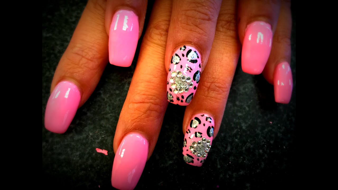 Acrylic Coffin Nails with Pink Leopard part 1 - YouTube