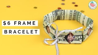 Dollar Origami $6 Money Bracelet with Picture Frames! How to Fold an Origami Money Bracelet