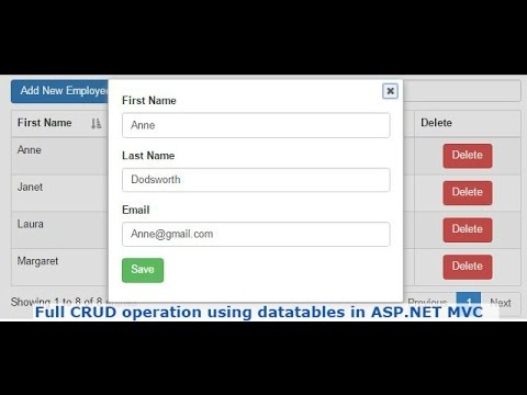 Full CRUD operation using datatables in ASP NET MVC