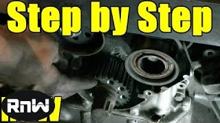 how to replace the timing belt on a vw passat audi a4 a6 2 8l engine part 1