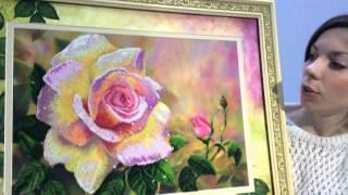 Роза с росой, вышивка бисером, готовая работа