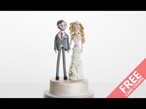 FREE CAKE TUTORIAL - Learn How To Make A Bride & Groom Wedding Cake Topper