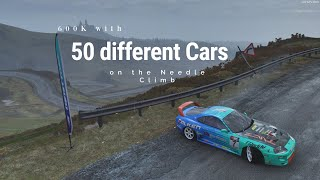 600k with 50 different Cars on the Needle Climb [no rewinds] | Forza Horizon 4