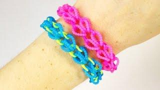 Браслет СЕРДЕЧКИ из резинок RAINBOW LOOM. Как плести браслет. Rainbow loom bracelet HEARTS
