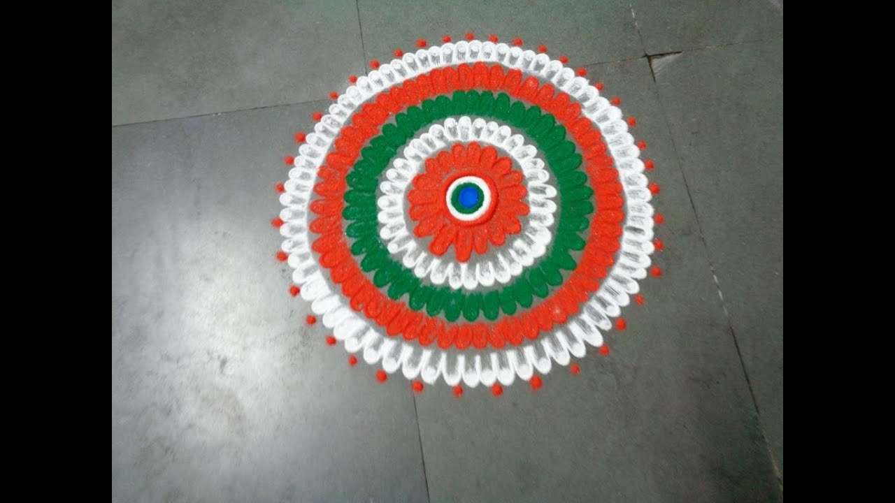 how to draw nice indian flag three colour in rangoli design crated