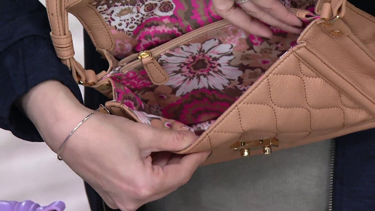 64ae40e5baa8 Vera Bradley Quilted Leather Crossbody -Tess on QVC - YouTube