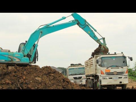 รถแม็คโครตักดินใส่รถดั้ม รถบรรทุกดิน ทำถนนทางหลวง | Excavator and Dump Truck