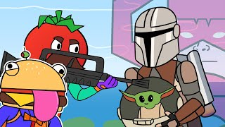 Mandalorian & Salty Towers | Tomato & Burger (Fortnite Animation)