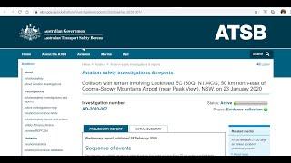 ATSB Preliminary Report Coulson 130 Crash Australia