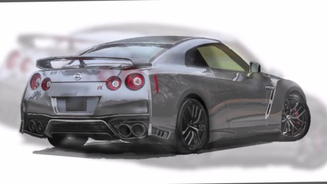 How to Draw a car NISSAN GTR 2018/車のイラスト - YouTube
