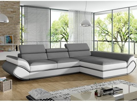 Canapé d\'angle convertible ORLEANS en simili - YouTube