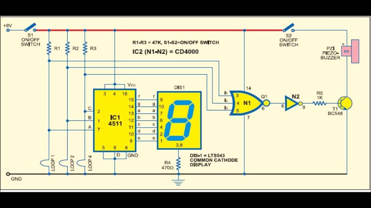simple digital security alarm circuit