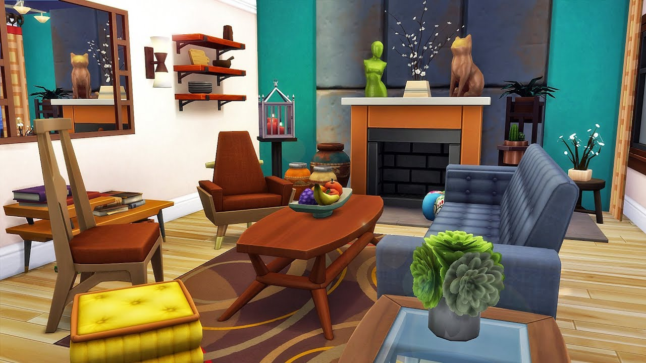 Mid Century Modern Living Room | The Sims 4 Speed Build
