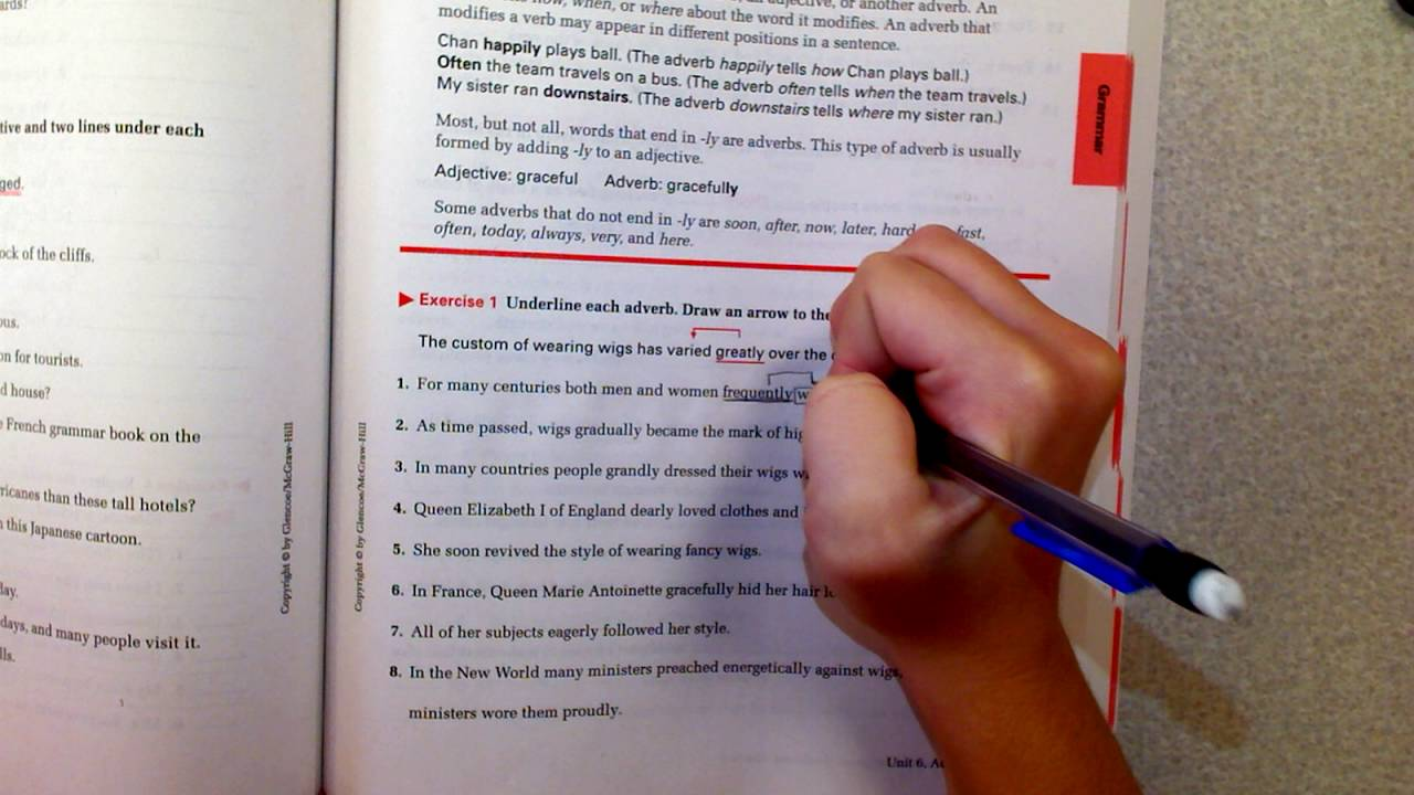 Practice Adverbs in Grammar Workbook E-Learning Day