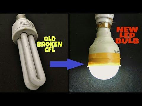 Convert OLD Broken CFL Bulb into LED Bulb ! Money Saving Life Hacks !