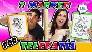 3 rotuladores challenge por telepatía LOL RETOS DIVERTIDOS dibujo dumbo la sirenita imitación copic