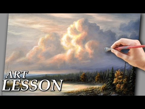 How to paint clouds | Acrylic landscape painting lesson