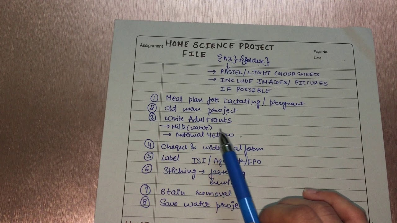 class 12 home science project file content youtube
