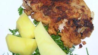 Шницель свиной  с  горчицей и  чесноком  №154  Мясо в  панировке