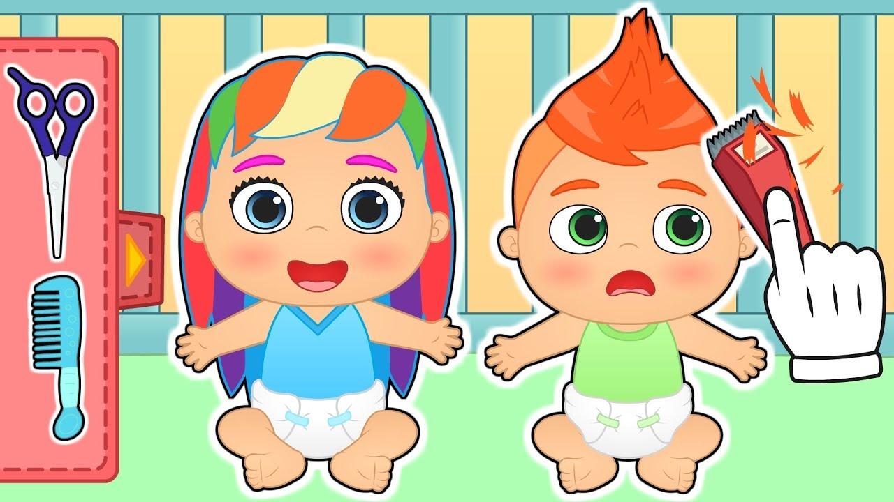 Los beb s alex y lily van a la peluqueria gameplay de - Dibujos de pared para ninos ...