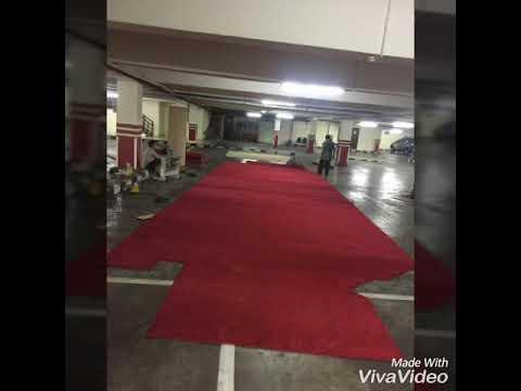 Pemasangan karpet polos di polda metro jakarta