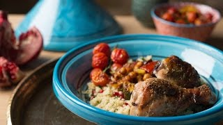 Garlic & Herb Chicken With Moroccan Roasted Vegetables & Jewelled Couscous