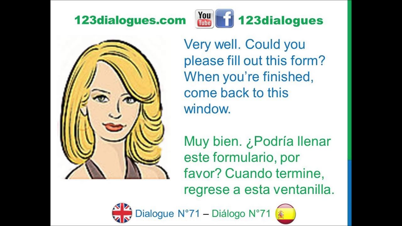 Dialogue 71 ingl s spanish at the post office en la for Oficina en ingles