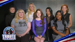 "The cast of ""Pitch Perfect 3"" honor the U.S. military"
