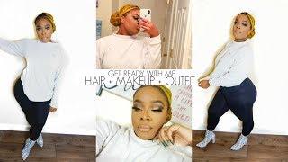 GET READY WITH ME | HAIR + MAKEUP+ OUTFIT | SLEEK BUN FOR LOCS