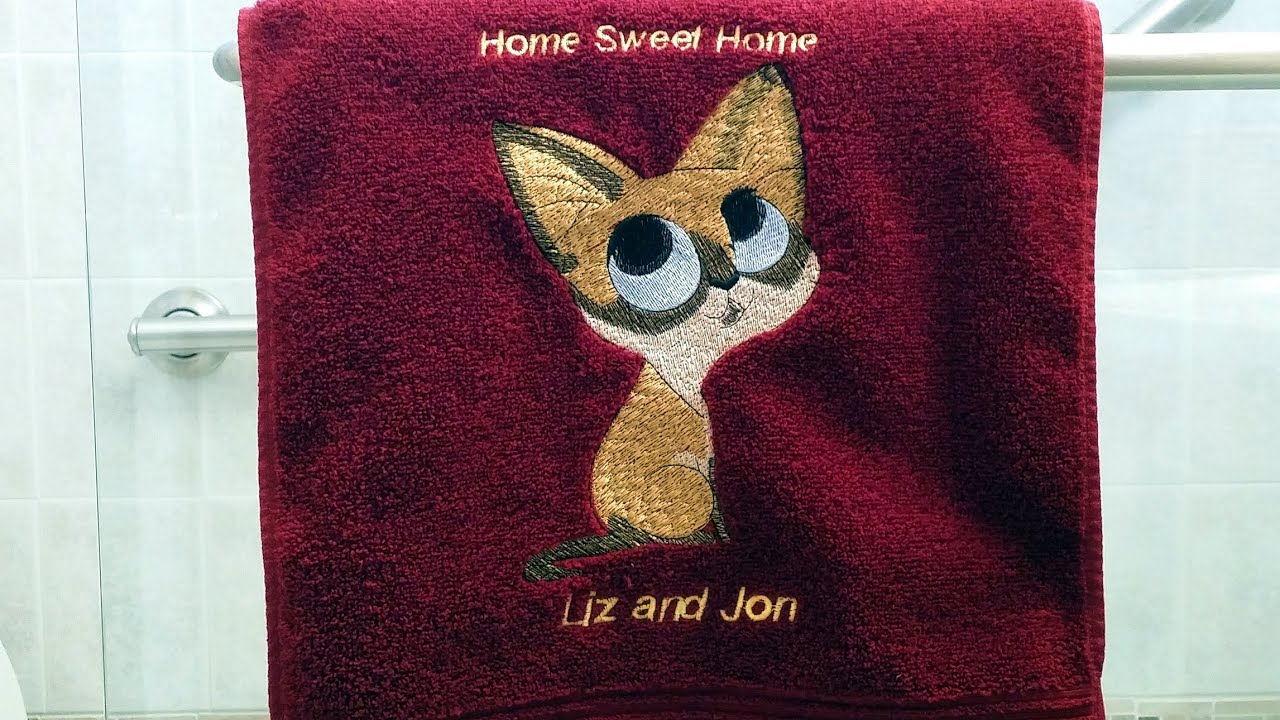 How To Embroidery A Cat Design On A Towel