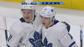 Frederick Andersen sends perfect pass to Mitch Marner for goal
