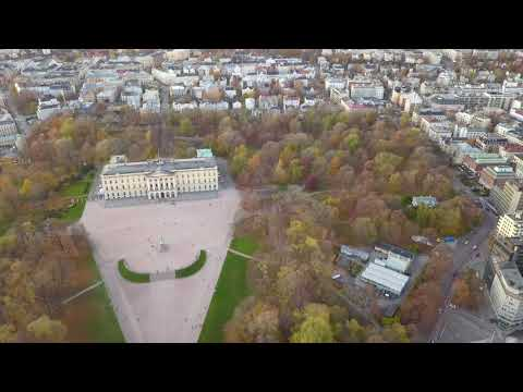 Norway - Oslo -  The Royal Palace - The Royal House of Norway 2019.11 drone 4k