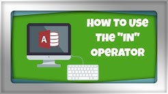 17. Microsoft Access 2016: Using The IN Operator With SQL Queries