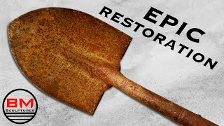 Antique Rusty Shovel Restoration || Woodworking, Metalworking & Metal Etching