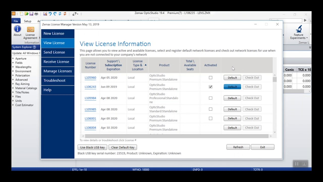 New Zemax License Manager