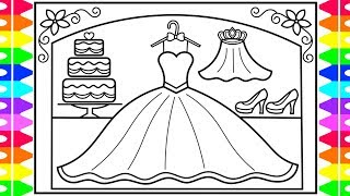 How to Draw a Wedding Dress for Kids 💖💙💛Wedding Dress Drawing  | Wedding Dress Coloring Pages